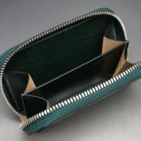 クレイトン社製ブライドルレザーのグリーン色のラウンドファスナー小銭入れ(シルバー色)-1-11