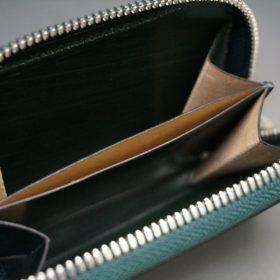 クレイトン社製ブライドルレザーのグリーン色のラウンドファスナー小銭入れ(シルバー色)-1-12