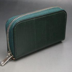 クレイトン社製ブライドルレザーのグリーン色のラウンドファスナー小銭入れ(シルバー色)-1-2