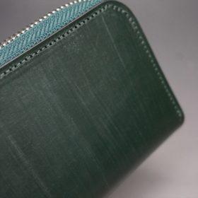クレイトン社製ブライドルレザーのグリーン色のラウンドファスナー小銭入れ(シルバー色)-1-3