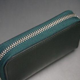 クレイトン社製ブライドルレザーのグリーン色のラウンドファスナー小銭入れ(シルバー色)-1-4