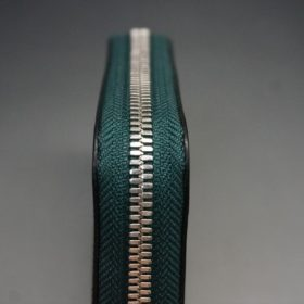 クレイトン社製ブライドルレザーのグリーン色のラウンドファスナー小銭入れ(シルバー色)-1-5