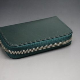クレイトン社製ブライドルレザーのグリーン色のラウンドファスナー小銭入れ(シルバー色)-1-6