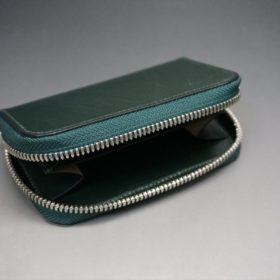 クレイトン社製ブライドルレザーのグリーン色のラウンドファスナー小銭入れ(シルバー色)-1-7
