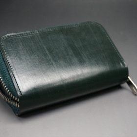 クレイトン社製ブライドルレザーのグリーン色のラウンドファスナー小銭入れ(シルバー色)-1-8