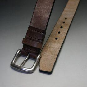 J.ベイカー社製ブライドルレザーのダークブラウン色の40mmベルト(ビジネス&カジュアルバックル/シルバー色/L)-1-2