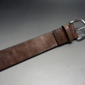 J.ベイカー社製ブライドルレザーのダークブラウン色の40mmベルト(ビジネス&カジュアルバックル/シルバー色/L)-1-5