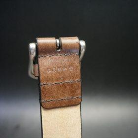 J.ベイカー社製ブライドルレザーのダークブラウン色の40mmベルト(ビジネス&カジュアルバックル/シルバー色/L)-1-8