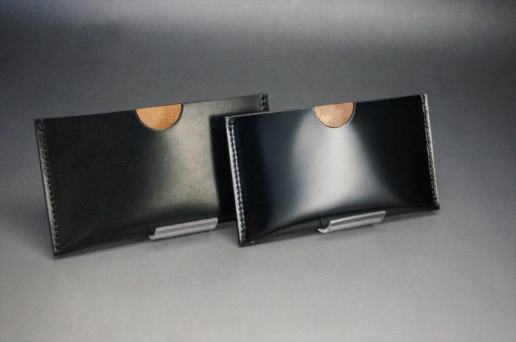ホーウィン社製オイル仕上げコードバンと光沢感を比べた画像