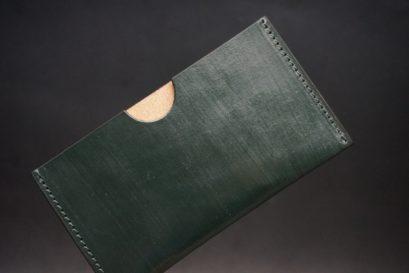 クレイトン社製ブライドルレザーのグリーン色のシンプル名刺入れ