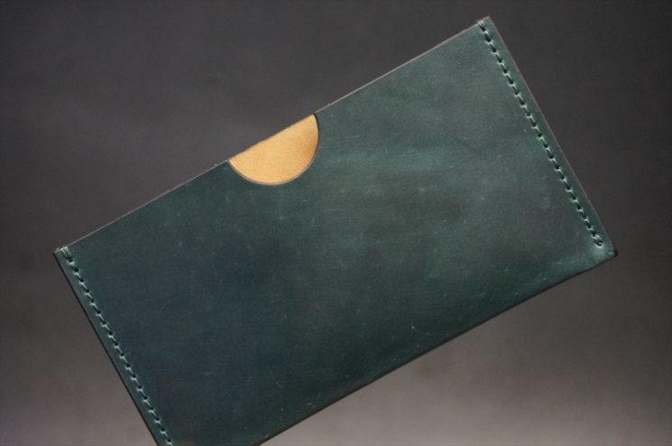 ホーウィン社製シェルコードバンのグリーン色のシンプル名刺入れ
